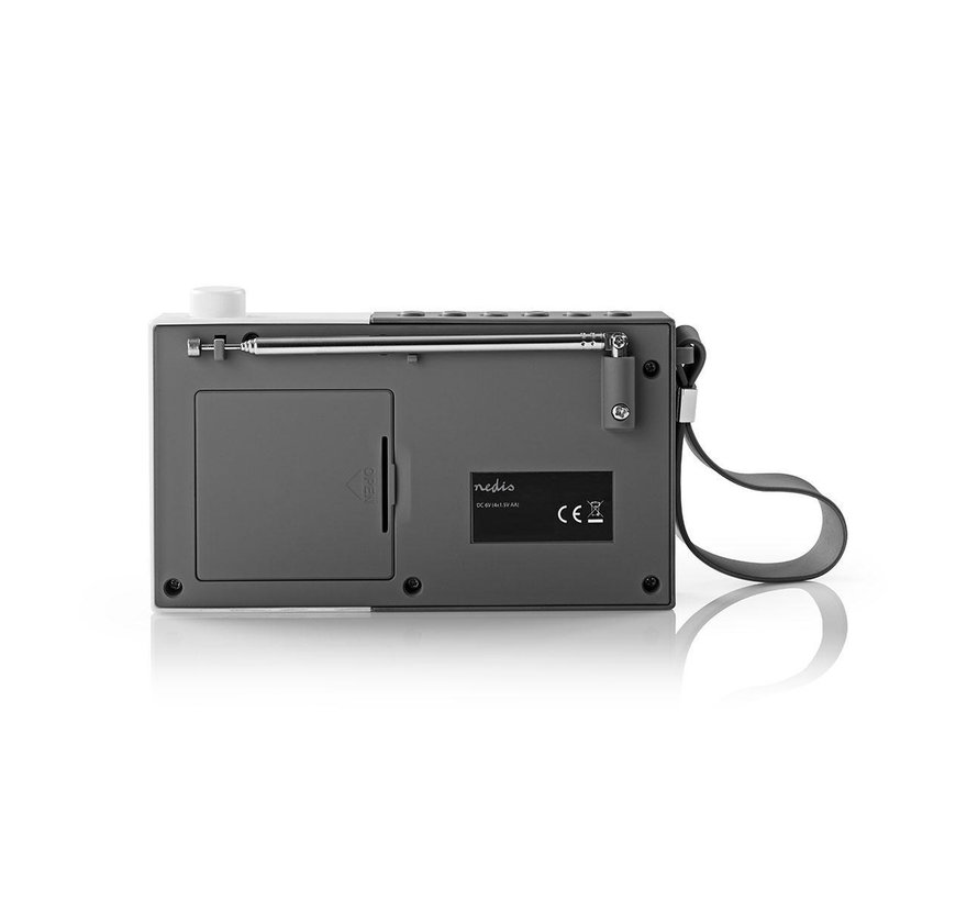 Portable FM radio klok - Wekker - oplaadbaar - PPL - 2,1W - grijs/wit