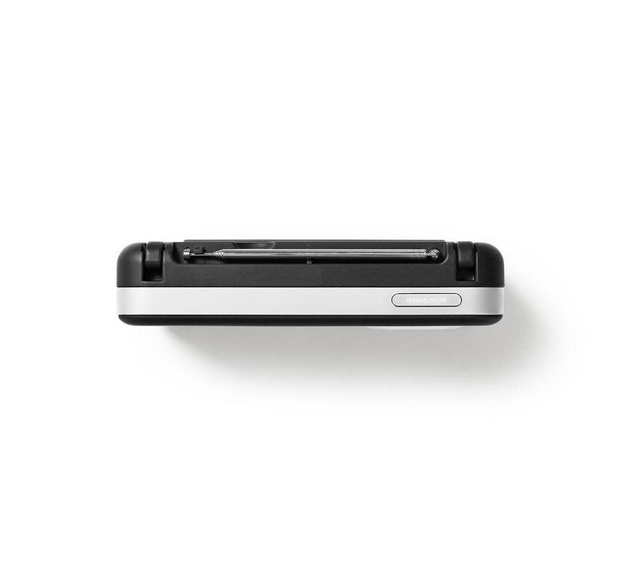 FM radio klok - Wekker - PPL - 3W - zwart/wit - MicroSD + USB