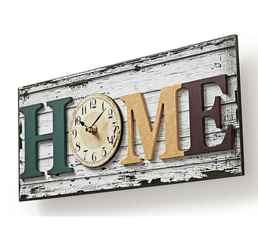 Houtstijl wandklok in lijst - Design Model 'HOME' - 43cm