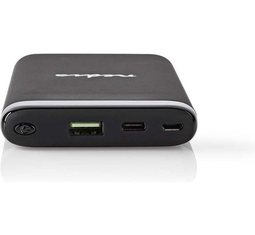 Powerbank - 10000 mAh - USB A / USB C - zwart - LCD Scherm