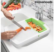 Innovagoods Uitschuifbare snijplank / dienblad, geïntegreerd afdruiprek en afneembare opvangbak