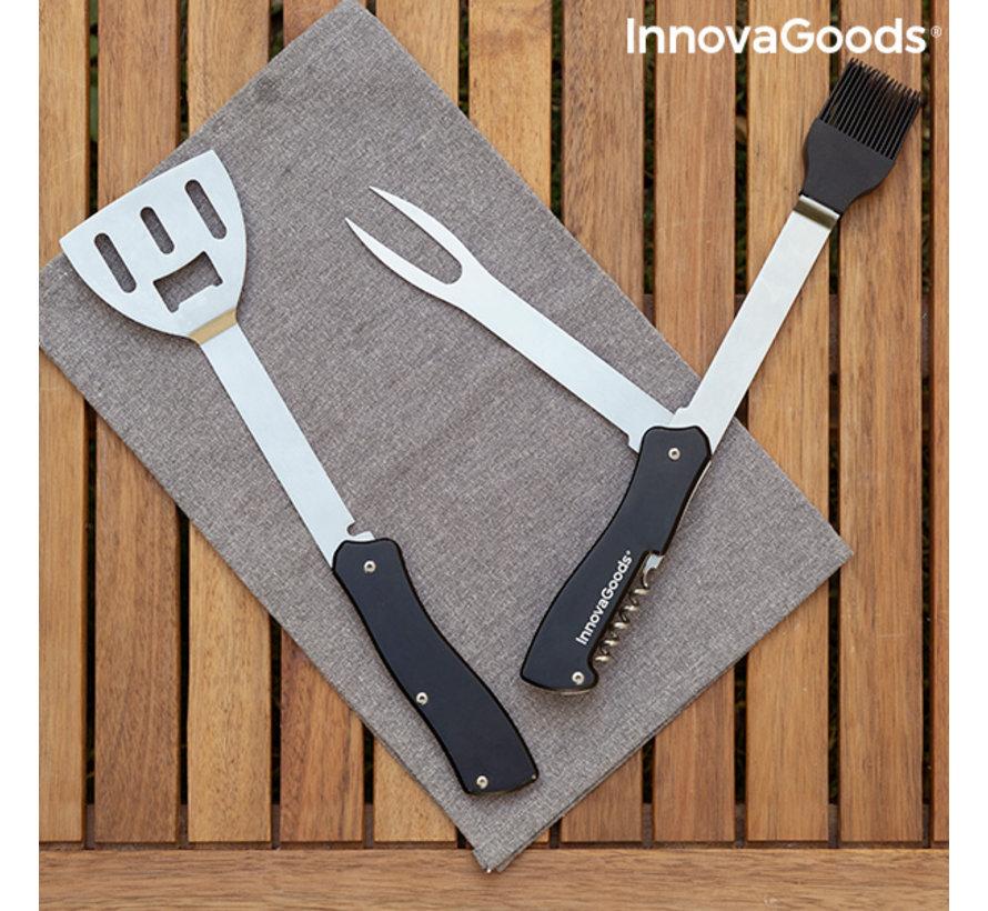 5-in-1 RVS BBQ accessoireset - BBKit - Alles in 1 voor de barbecue