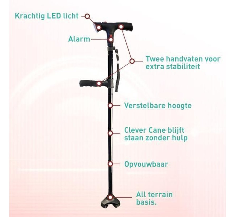 Clever Cane - Inklapbare wandelstok - LED lamp - Alarm - Opvouwbaar - Inklapbaar