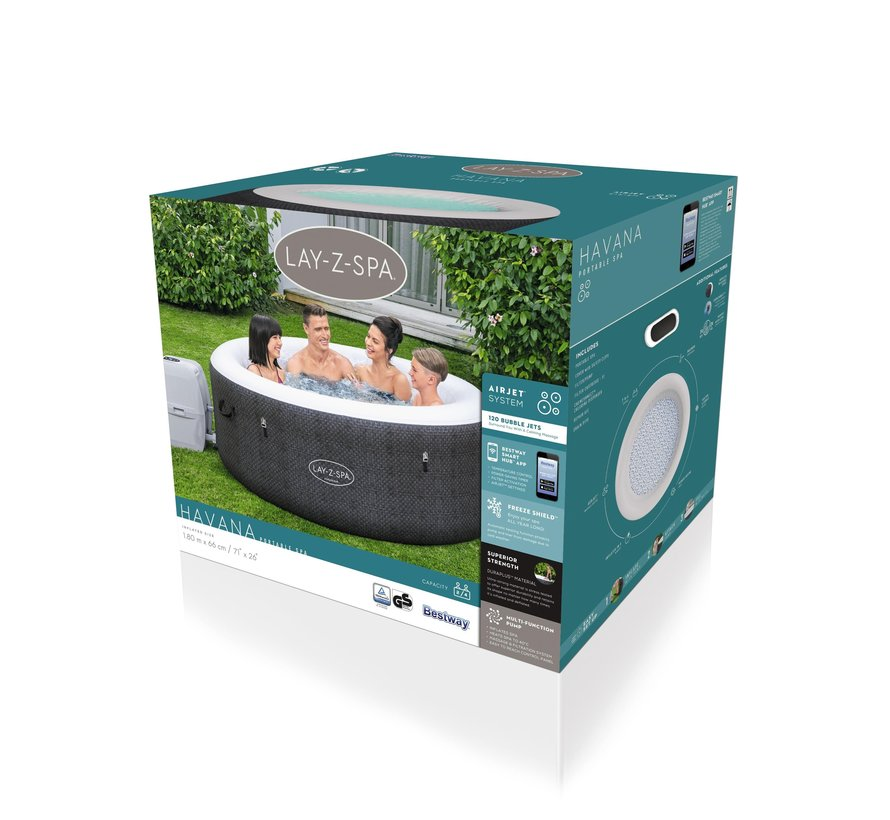 Lay-Z-Spa Havana Wifi App - Max 4 pers - 120 Airjets - Jacuzzi - Bubbelbad- Whirlpool