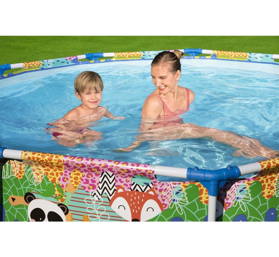 Zwembad met metalen Frame Rond Jungle met leuke dierenprint - 274x66cm