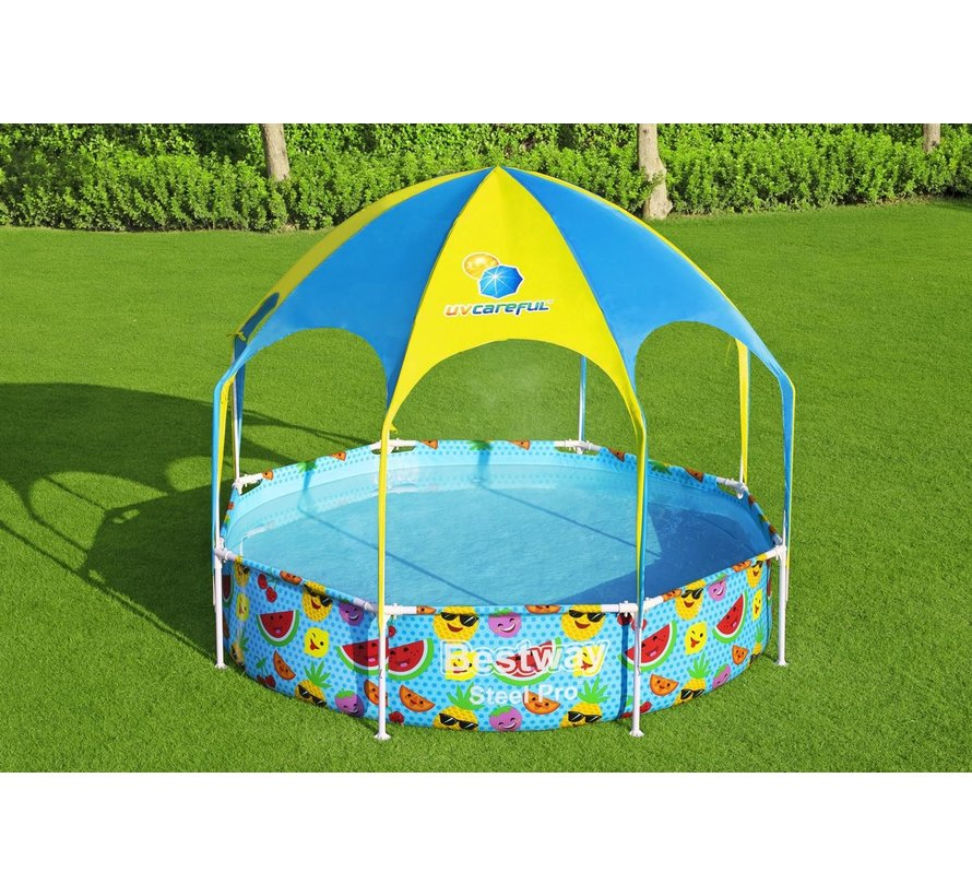 Zwembad Frame Rond met zonnescherm voor kinderen (244x51cm)