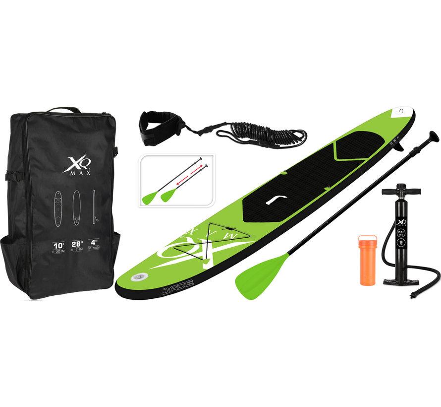 Opblaasbaar SUP board set - Groen - met pomp,  peddel en draagtas - 305x71x10cm