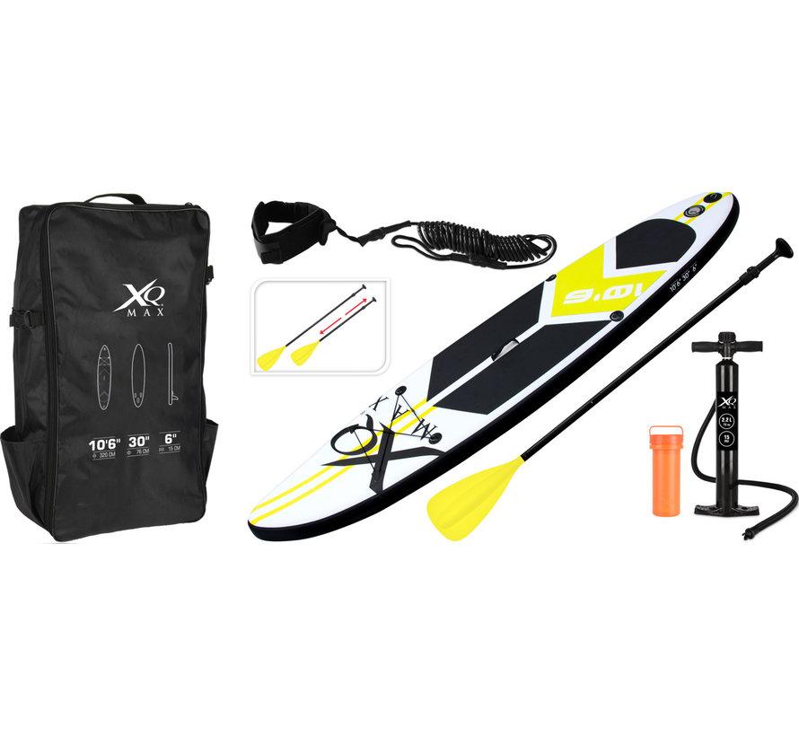 Opblaasbaar SUP board set - Neon Geel - met pomp,  peddel en draagtas - 320x76x15cm