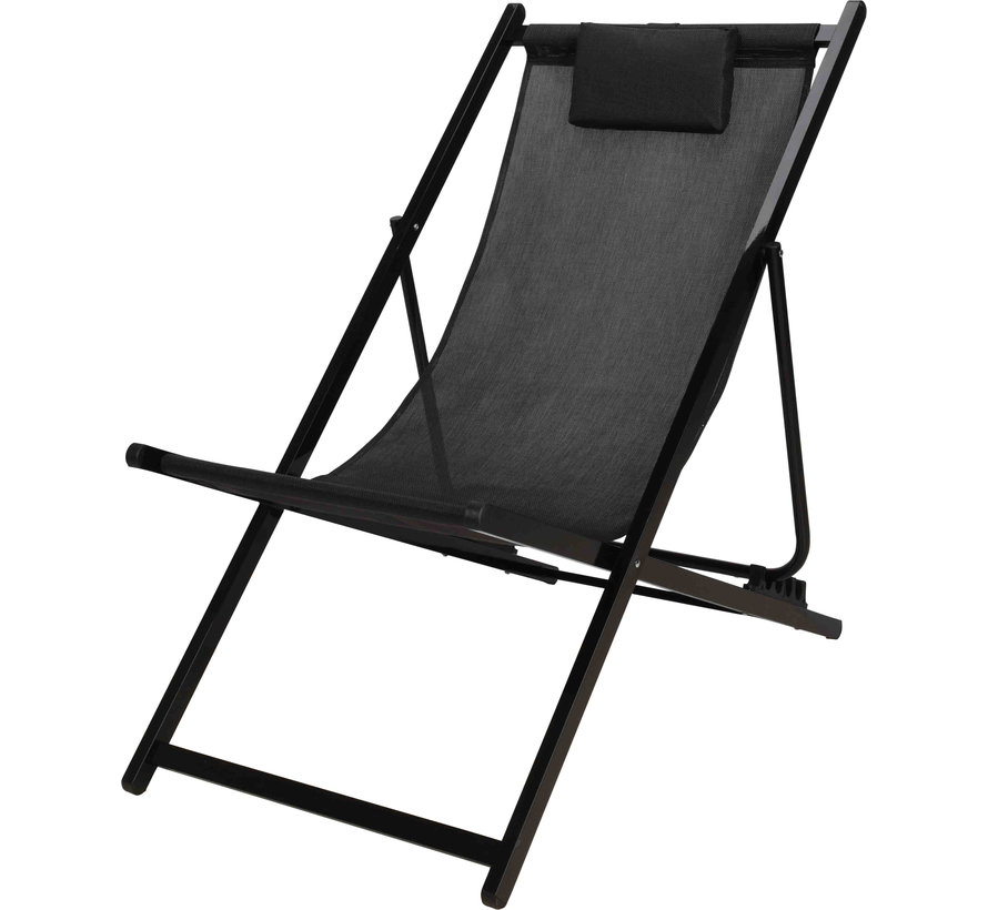 Premium Tuin Ligstoel Aluminium - Zwart - Inklapbaar