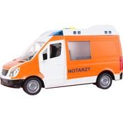Toy-Toys Ambulance Notatrzt Met Licht En Geluid 22 Cm Wit/oranje