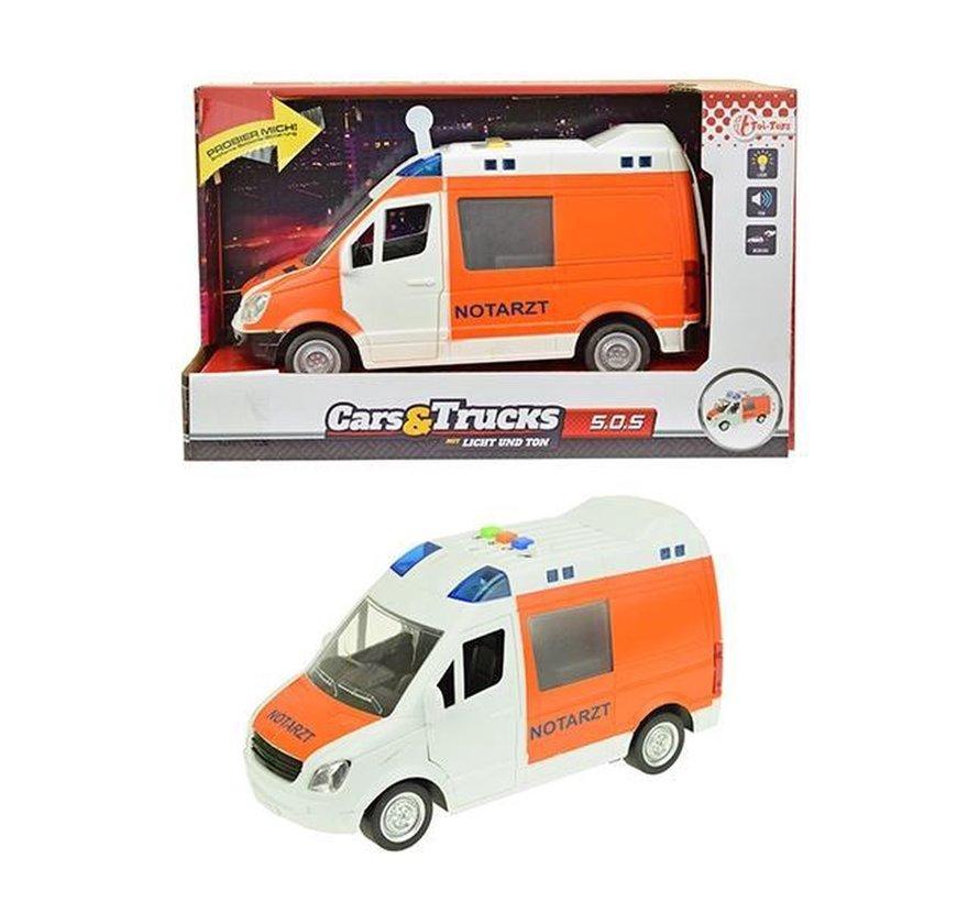 Ambulance Notatrzt Met Licht En Geluid 22 Cm Wit/oranje