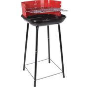 BBQ Equipment Barbecue vierkant compact  - zwart/rood - windscherm - 41x40x74cm