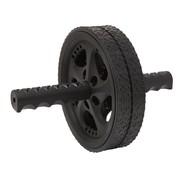 Fit Essentials Dubbel Trainingswiel - Buikspierwiel - Buikspieroefeningen - 18,5 cm - zwart