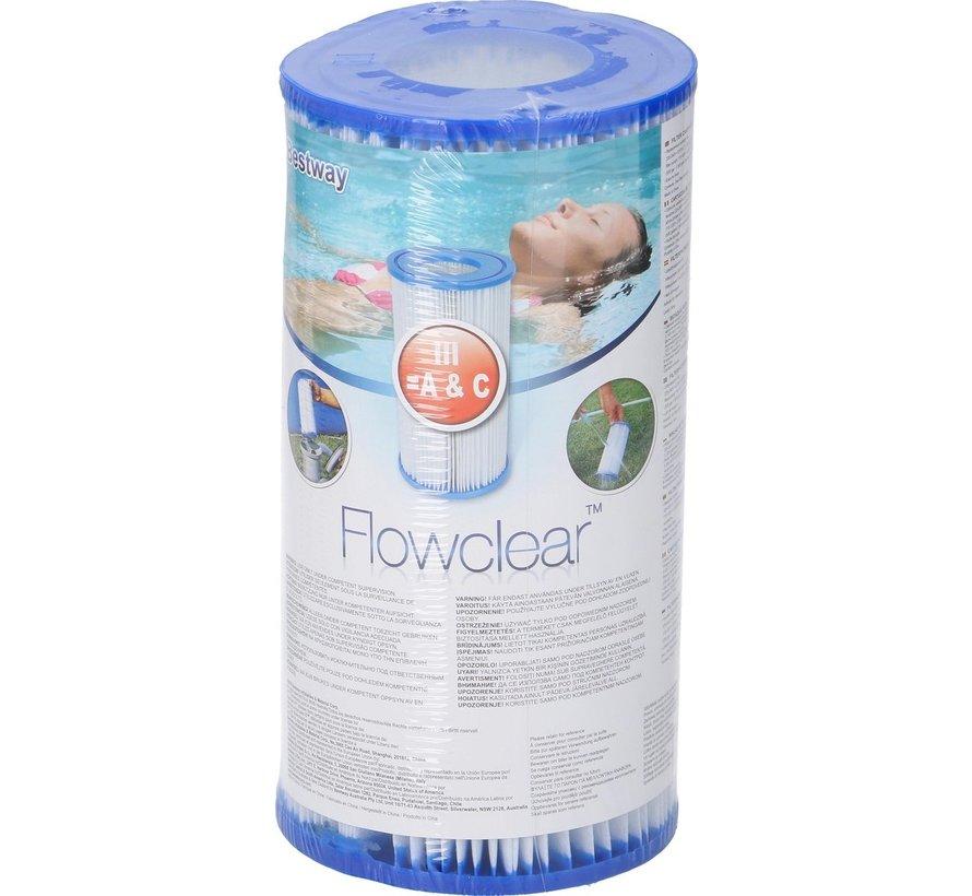 3 stuks Flowclear Filterpatroon Type III (=A&C) Voor filterpompen tot 5678 Ltr/uur