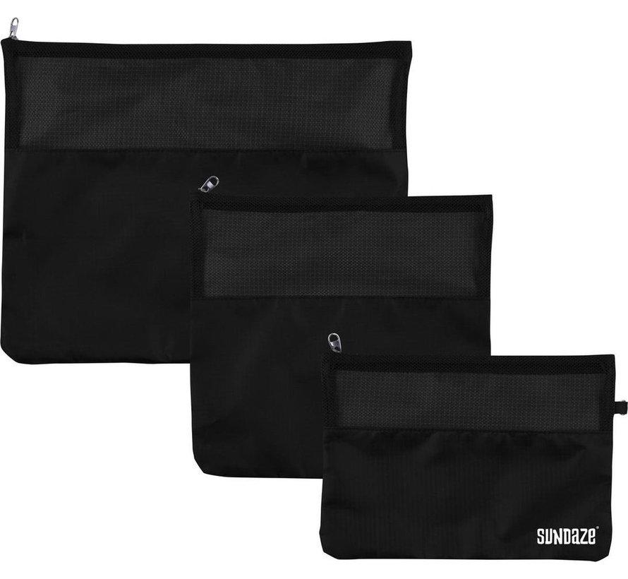 3-Delige reis / koffer organizer set - zwart