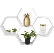 Dresz Trendy Wandrek Metaal Wit - Design Wandbox - 4 Vakken - 62x43,5x15cm