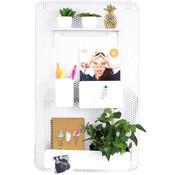 Dresz Trendy design Wandrek Metaal Wit met 3 Verplaatsbare Containers en 1 plank