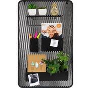 Dresz Trendy design Wandrek Metaal Zwart met 3 Verplaatsbare Containers en 1 plank