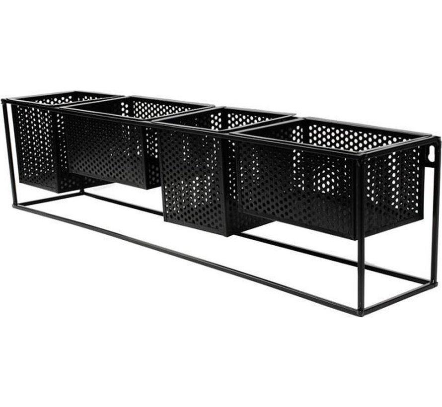 Trendy design Wandrek Metaal Zwart met 4 Verplaatsbare Containers