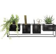 Dresz Trendy design Wandrek Metaal Zwart met 4 Verplaatsbare Containers