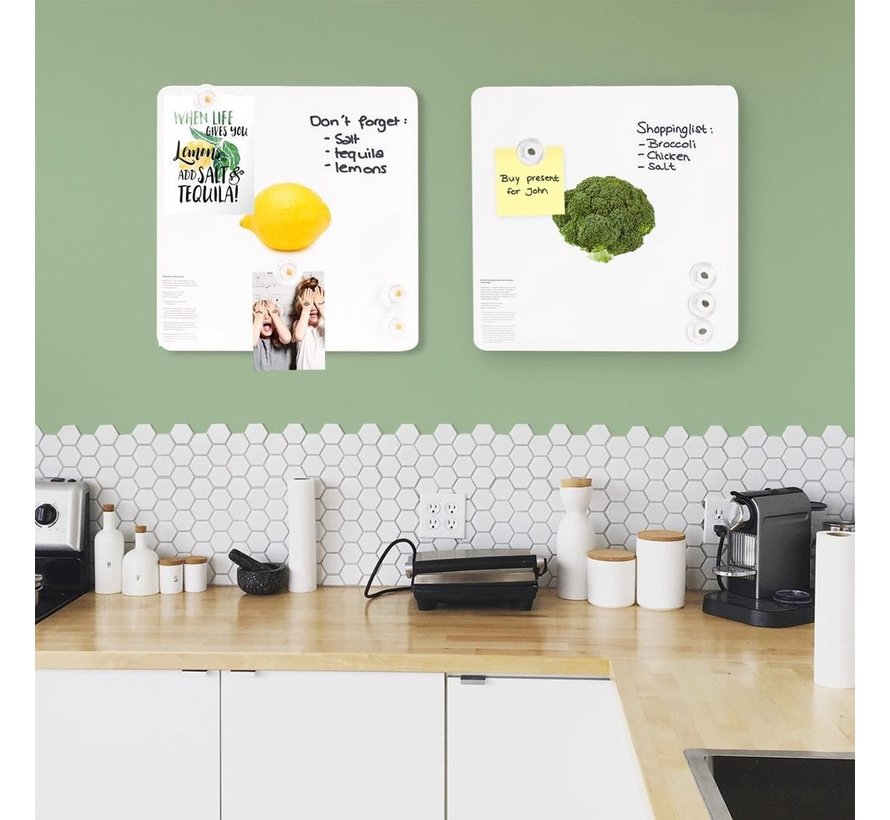 Trendy Magneetbord Broccoli - Whiteboard - Beschrijfbaar - 4 Magneten - 29x29cm
