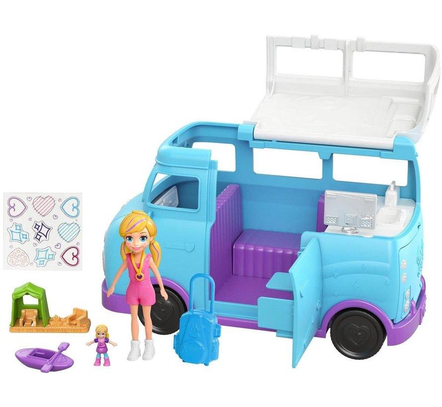 Polly Pocket - Avonturen Camper / Kampeerwagen met pop en accessoires