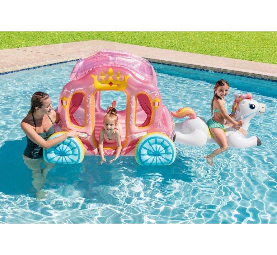 Opblaasbare prinsessenkoets met paard - Zwembad luchtbed en ride-on