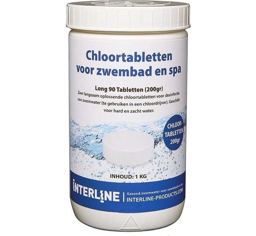 Chloortabletten XXL - Long90 - 200gram per stuk / Totaal 1KG