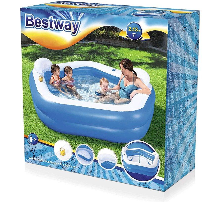 Familie lounge zwembad met 2 zitjes, hoofdsteun en drinkbekerhouders - 213x207x69cm