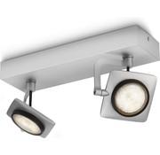 Philips MyLiving Millennium LED Aluminium - Plafondlamp 2-spots (4,5Wx2)