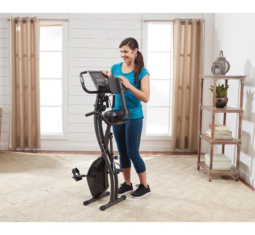Slim Cycle 2-in-1 - Bekend van TV - Opvouwbare hometrainer – Rugsteun, 8 weerstandsniveaus, Digitaal display, ligfiets