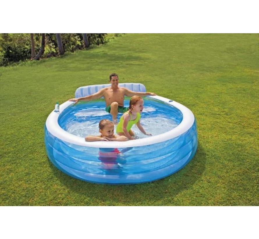 Opblaasbaar Familie Lounge Zwembad met Bank (224x216x76cm) (Intex)