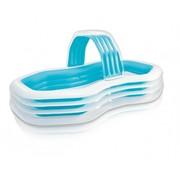 Intex Cabana - opblaasbaar familie zwembad - met bank - blauw/wit - 310x188x130cm