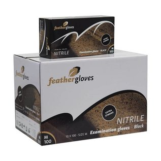 Feather Disposables   Nitril handschoenen zwart EXTRA STRONG 1000 STUKS