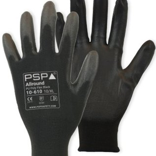 PSP Werkhandschoenen - President Safety  Montage handschoenen PSP Allround PU Poly Flex Black 10-610