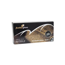 Feather Gloves Nitril handschoenen zwart EXTRA STRONG 100 STUKS