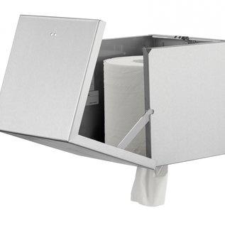 Qbic-line Papierrolhouder RVS vierkant geschikt voor midi papierrol