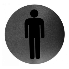 Pictogram rond rvs man toilet