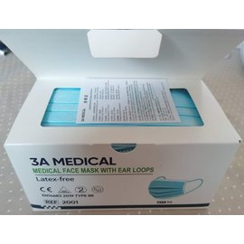 3A Medical Medisch mondkapje  Type IIR 50 stuks 3-laags 1000 stuks
