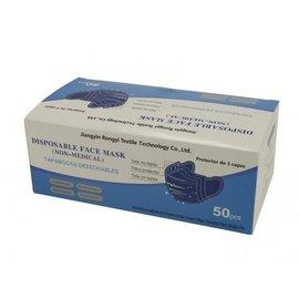 Rongyi Mondmasker 3 laags Blauw elastiek  50 stuks