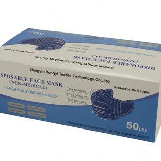 Rongyi Mondmasker 3 laags licht blauw elastiek  50 stuks