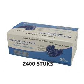 Rongyi Mondmasker 3 laags Blauw elastiek 2400 STUKS