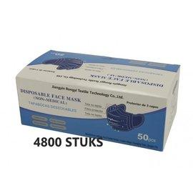 Rongyi Mondmasker 3 laags Blauw elastiek 4800 STUKS