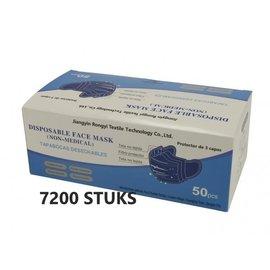 Rongyi Mondmasker 3 laags Blauw elastiek 7200 STUKS