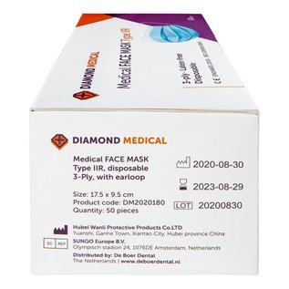 Diamond Medical  Medische Mondkapjes type IIR 3-laags Blauw 10.000 STUKS