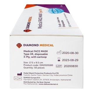 Diamond Medical  Medisch mondkapje  Type IIR 50 stuks 3-laags blauw met elastiek