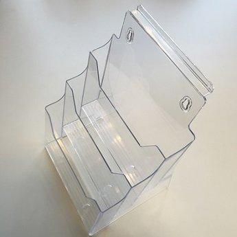 Transparante folderhouder met 3 etages achter elkaar