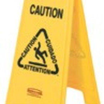 """Waarschuwingsbord """"Caution"""" voor gladde/natte vloeren. Uitvoering 2-zijdig.""""Caution"""" waarschuwing in het Engels, Frans, Duits en Spaans. Pictogrammen verduidelijken de waarschuwing. Opvouwbaar voor compacte opberging en vervoer op schoonmaakkarretjes. Tw"""