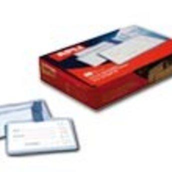 Apli-nr. 11740  Badge with plastic clip - Badge transparant hard pvc met bretelclip afmeting 105x72 mm  verpakt per 25 stuks in doosje. Aan 3 zijden gesloten.