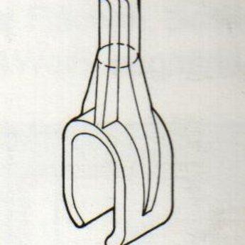 Buisklem transp voor kleine ovale buis 15x30mm. Buisklem voor op kledingrek.